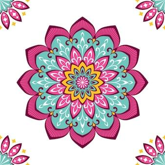Buntes mandala mit floralem ornament