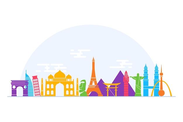 Buntes markstein-skyline-thema