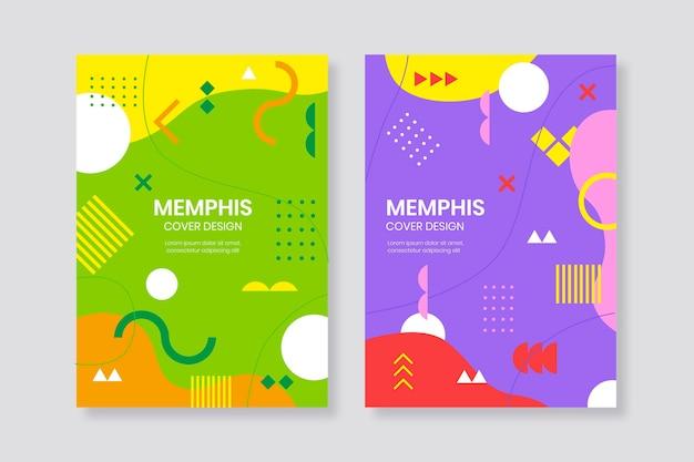 Buntes memphis design cover set Kostenlosen Vektoren