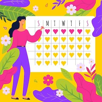 Buntes menstruationskalenderkonzept