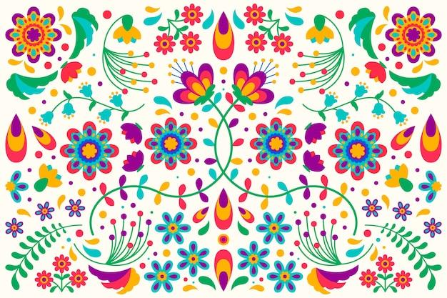 Buntes mexikanisches tapetenkonzept des flachen designs