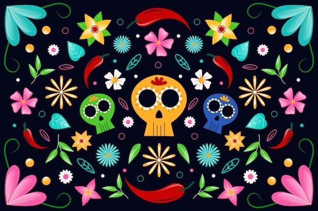 Buntes mexikanisches thema für tapete