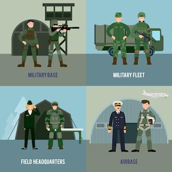 Buntes militärisches quadrat-konzept