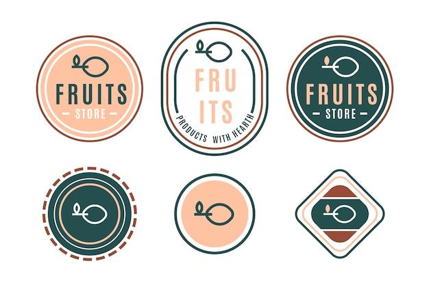 Buntes minimales logo eingestellt in retrostil
