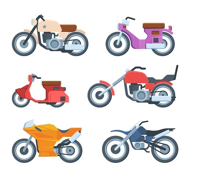 Buntes modernes motorradtransport-flachset. verschiedene motorräder. sammlung sportlicher fahrräder. motosport transport.
