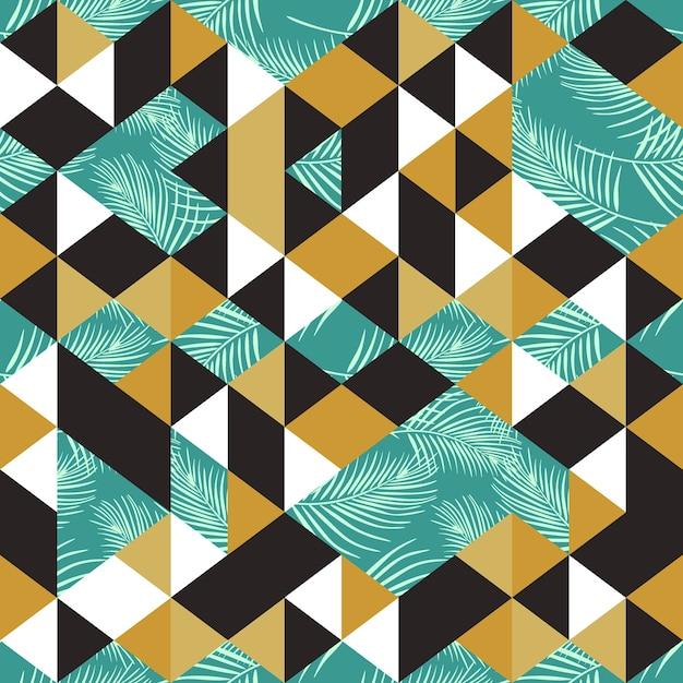 Buntes modisches nahtloses muster mit exotischer palme des dreiecks