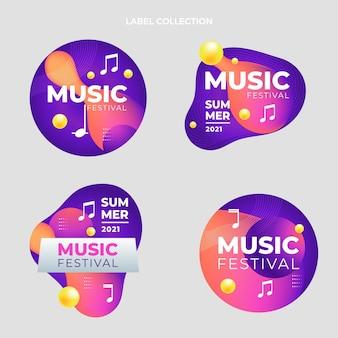 Buntes musikfestival-label mit farbverlauf