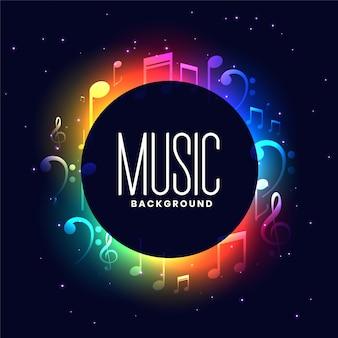 Buntes musikfestival mit musiknotenentwurf