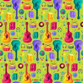 Buntes musikinstrument-flaches nahtloses muster