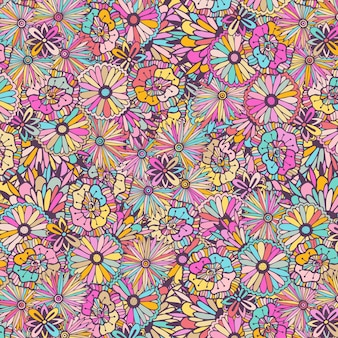 Buntes muster mit gekritzelblumen. vektor einzigartige abbildung