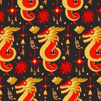 Buntes muster mit traditionellem drachen und elementen des chinesischen neujahrs. heller chinesischer neujahrshintergrund.