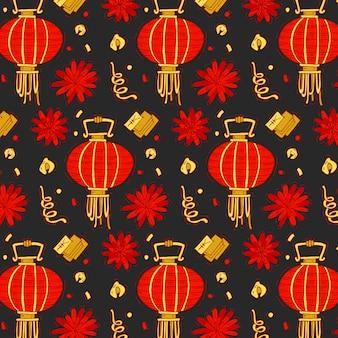 Buntes muster mit traditionellen elementen des chinesischen neujahrs. heller chinesischer neujahrshintergrund.
