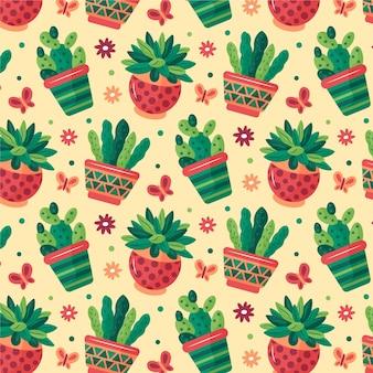 Buntes muster verschiedener kaktuspflanzen