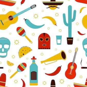 Buntes nahtloses mexiko-muster mit traditionellen mexikanischen attributen - tequila, chili-pfeffer, sombrero, gitarre, kaktus, tacos, maracas, zuckerschädel. karikaturillustration