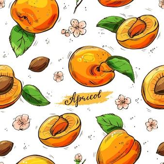 Buntes nahtloses muster der aprikosen. handgezeichneter hintergrund.