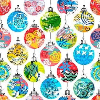 Buntes nahtloses muster der weihnachtsbaumdekoration spielt schneeflocken. neujahr tapete