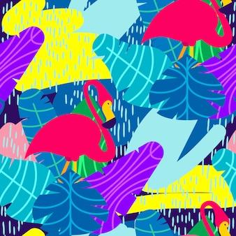 Buntes nahtloses muster des vektors. rosa flamingo und tropische blätter vorbei.