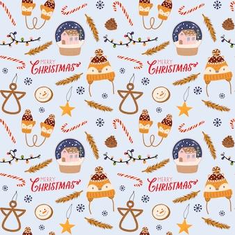 Buntes nahtloses muster für weihnachten und neues jahr mit feiertagsbeschriftung und traditionellen weihnachtselementen. skandinavischer stil.