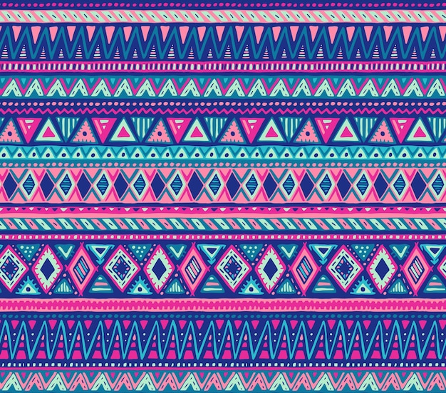 Buntes nahtloses muster mit handgezeichneten ethnischen elementen
