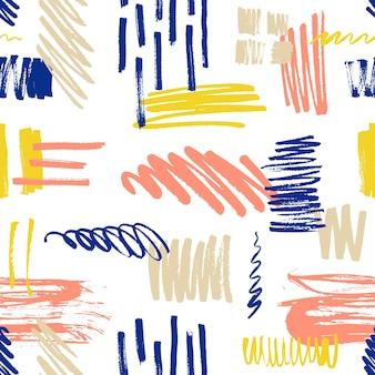 Buntes nahtloses muster mit kritzeleien und farbflecken oder flecken.