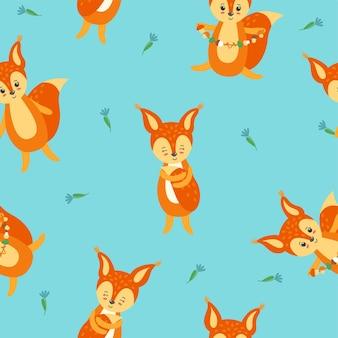 Buntes nahtloses muster mit süßen und glücklichen eichhörnchen für textilien, papier und stoff auf blauem hintergrund mit blumen. vektorillustration im flachen stil