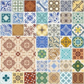 Buntes nahtloses patchwork-muster - spanien und marokkanisches fliesenset - für tapete, design, hintergrund, textur, innenräume