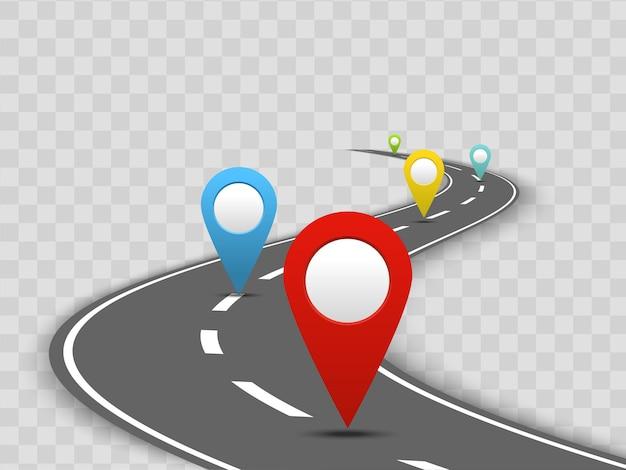 Buntes navigationskonzept mit leichten navigationszeigern und gekrümmter perspektivischer straße auf transparentem