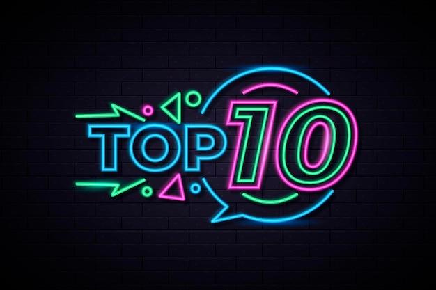 Buntes neon-top-ten-zeichen
