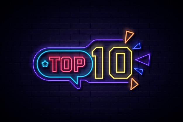 Buntes neon-top-ten-zeichen Premium Vektoren