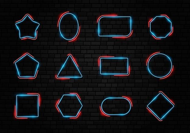 Buntes neonrahmenset verschiedene formzeichensammlung auf dunklem betonziegelhintergrund