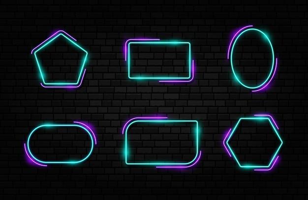 Buntes neonrahmenset verschiedene formzeichensammlung auf dunklem betonziegelhintergrund.