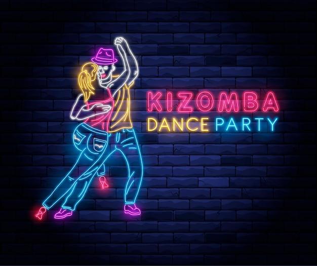 Buntes neonschild der kizomba-tanzparty