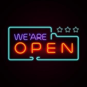 """Buntes neonschild """"wir sind offen"""""""