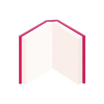 Buntes offenes buch des vektors, das oben in isometrischem steht