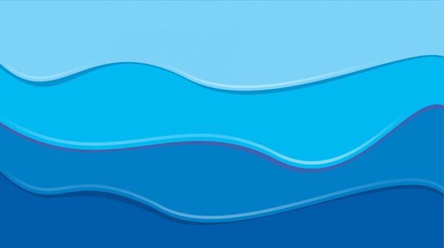 Buntes papier der blauen welle schnitt moderne hintergrundschablone