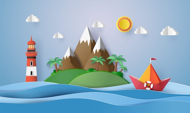 Buntes papiersegelboot, papierschnitt und origami.