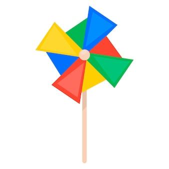 Buntes papierwindrad. kinderspielzeug. symbol auf weißem hintergrund. für ihre gestaltung.