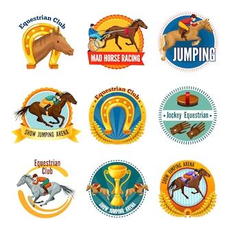 Buntes pferdesport-abzeichen und logos