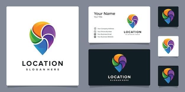 Buntes pin-logo mit visitenkartenvorlage