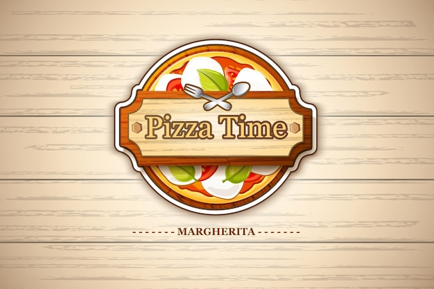 Buntes pizza-margherita-emblem mit käse- und tomatenzutaten auf hölzerner illustration