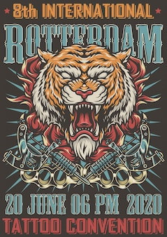 Buntes plakat der rotterdam tattoo convention