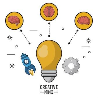 Buntes plakat des kreativen verstandes mit der glühlampe in der nahaufnahme