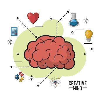 Buntes plakat des kreativen verstandes mit enzephalitischer masse