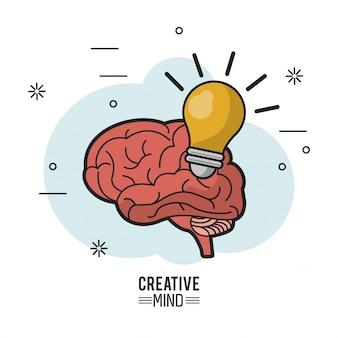Buntes plakat des kreativen verstandes mit gehirn und glühlampe
