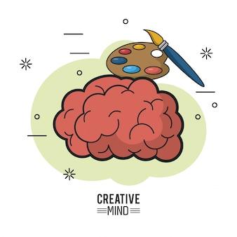Buntes plakat des kreativen verstandes mit gehirn und palette