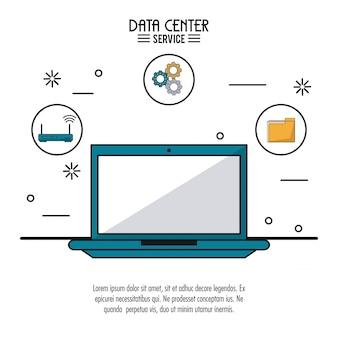 Buntes plakat des rechenzentrumsservice mit laptop-computer
