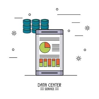 Buntes plakat des rechenzentrumsservice mit smartphone mit speicherdaten
