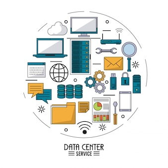 Buntes plakat des rechenzentrumsservice mit technologiegerätikonen