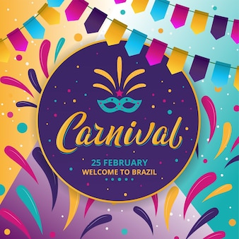 Buntes plakat des rio-karnevals auf dunklem hintergrund