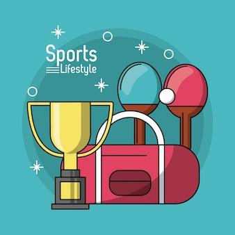 Buntes plakat des sportlebensstils mit trophäe von tischtennis